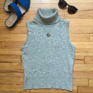 Ann Taylor gray cashmere turtleneck tank top, XS